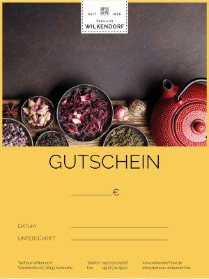 Der Geschenkgutschein im Wert von 10 € vom Teehaus Wilkendorf