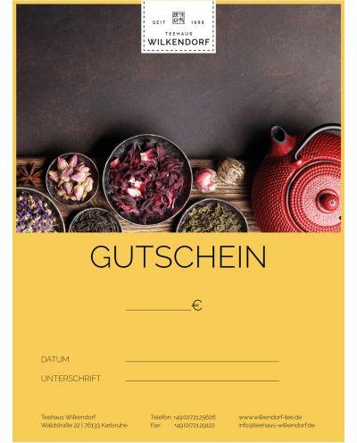 Der Geschenkgutschein im Wert von 50 € vom Teehaus Wilkendorf